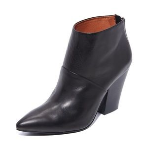 Matiko Black Low Ankle Boots w/ Stacked Heel